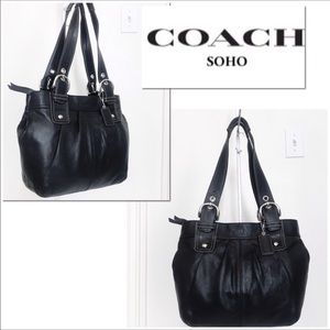 Coach Soho Black Leather Pleated Tote Bag Carryall